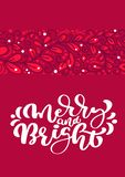 Merry and Bright scandinavian Christmas vector calligraphy lettering text in red greeting card design. Xmas hand drawn royalty free illustration