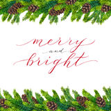 Merry and Bright text on watercolor christmas border. Of fir branches and fir-cones, christmas lettering on watercolour hand painted xmas frame for greeting Royalty Free Stock Photos