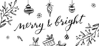 Merry and Bright vector Postcard. Chalkboard Lettering. Christmas and New Year collcetion royalty free illustration