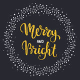 Merry and Bright. Winter holiday postcard with glitter texture hand lettering. Vector illustration Stock Image