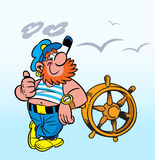 Merry captain. The illustration shows the red-haired funny captain of at the helm stock illustration