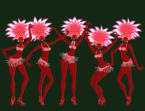 Merry carnival girls. Illustration Royalty Free Stock Photos