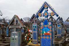 Merry cemetery. Colored crosses in the Merry Cemetery in Romania stock photos