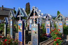 Merry cemetery. Beautiful merry cemetery in Sapanta village, Maramures county, Romania Stock Photo