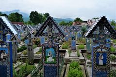 Famous and unique Merry Cemetery Cimitirul Vesel in Sapanta village, Romania stock photo