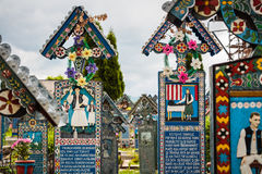 Merry Cemetery. Grave crossses from the merry cemetery in Sapanta - Romania Royalty Free Stock Photography