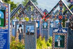 The merry cemetery of Sapanta, Maramures, Romania. Those cemetery is unique in Romania. SAPANTA,ROMANIA - 04 JULY, 2015- The merry cemetery of Sapanta, Maramures Stock Photography
