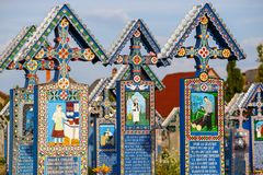 The merry cemetery of Sapanta, Maramures, Romania. Royalty Free Stock Image