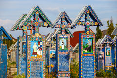 The merry cemetery of Sapanta, Maramures, Romania. Royalty Free Stock Photo