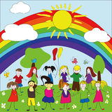 Merry children background with rainbow and sun Royalty Free Stock Images
