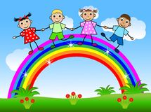 Merry children dance on a rainbow Stock Images