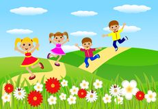Merry children hurry on a path Royalty Free Stock Photography