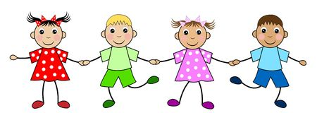 Merry children on a white background Royalty Free Stock Image