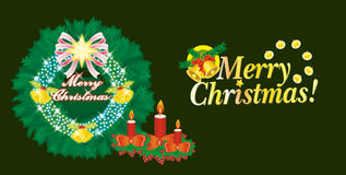 Merry Chiristmas. Christmas LED on green background vector illustration