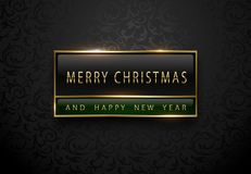 Merry Chistmas and happy new year banner. Premium black green label with golden frame on black floral pattern background. Dark stock photos