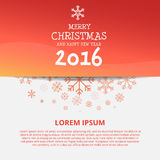 Merry Chistmas and Happy New Year 2016 Design. Merry Chistmas and Happy New Year 2016 Snow Flakes icon Background Design Template Stock Image