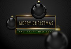 Merry Chistmas and happy new year luxury banner. Golden text, black green rectangular label frame banner. Dark geometric pattern royalty free stock photo