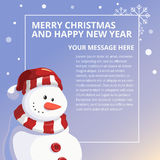 Merry Chistmas and Happy New Year Snowman Design Template Stock Photo