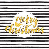 Merry Chistmas lettering, gold glitter tree. Hand drawn vector illustration. Royalty Free Stock Image