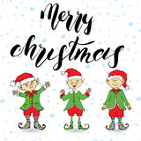Merry Chistmas lettering. Hand drawn vector illustration with elfs. Royalty Free Stock Images