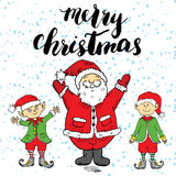 Merry Chistmas lettering. Hand drawn vector illustration with Santa Claus and elfs. Royalty Free Stock Image