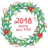 Merry Chriatmas wreath with berries, fir branches. Round circle frame. Vector background. 2018 new year illustration. Merry Chriatmas wreath with berries, fir Royalty Free Stock Photo