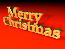 Merry Chrismas. Sign computer generated over red Stock Photo