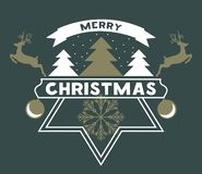 Free Merry Chrismas Greeting Card With Snow, Christmas Tree And Reindeer. Vector Illustration. Stock Photos - 131336883