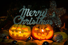 Merry chrismas pumpkins Royalty Free Stock Photos