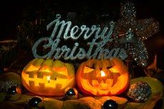 Merry chrismas pumpkins Royalty Free Stock Photos