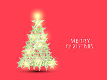 Merry Chrismtas celebration with Xmas Tree deisgn. Merry Christmas celebration greeting card design with shiny Xmas Tree made by beautiful stars on red vector illustration