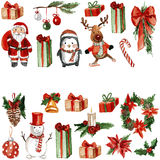 Merry Chrismtas Holly Jolly Watercolor pattern Royalty Free Stock Images