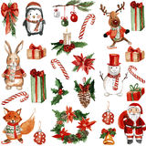 Merry Chrismtas Holly Jolly Watercolor pattern Stock Photography