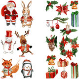 Merry Chrismtas Holly Jolly Watercolor pattern Stock Photos