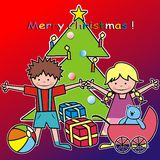 Merry Chrisstmas - kids and gifts. Christmas cards for children - Christmas tree and presents Stock Photo