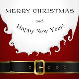 Merry Christamas background with Santa Claus. Beard, outfit and belt Royalty Free Stock Images