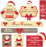 Merry Christamas and Happy New Year banners with cute red bow and Santa Claus. Winter holidays. 2019 vector illustration