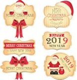 Merry Christamas and Happy New Year banners with cute red bow and Santa Claus. Winter holidays. 2019 stock illustration