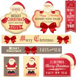 Merry Christamas and Happy New Year banners with cute red bow and Santa Claus. Winter holidays. 2019 royalty free illustration