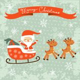 Merry Christams card with Santa Royalty Free Stock Image