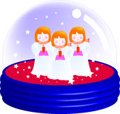 Merry christmas 01. A illustration for a three little girl singing inside the snow globe, ornaments for Christmas, vector, graphic Royalty Free Stock Photography
