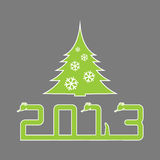 Merry Christmas 03. Christmas tree and the inscription 2013 in the form of a snake Vector Illustration