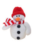 Merry Christmas. A snowman wearing scarf isolated on a white background, merry Christmas Royalty Free Stock Image