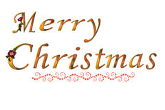 Merry Christmas. Golden font isolated on white vector illustration