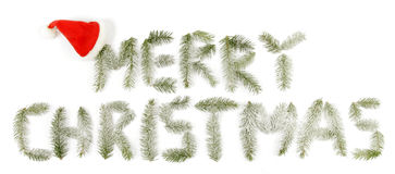 Merry christmas. Text made up from twigs of the spruce Stock Images