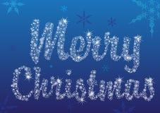 Merry christmas. Text on the snowflakes background Stock Photo