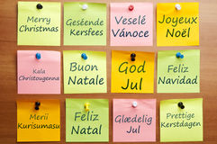 Merry Christmas in 12 languages Stock Photo