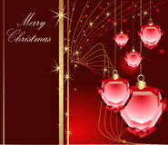 Merry Christmas. Red and gold Merry Christmas background with stars Stock Image
