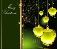 Merry Christmas. Green and gold Merry Christmas background with stars Stock Images