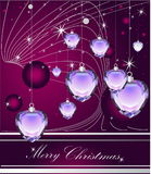 Merry Christmas. Violet Merry Christmas background with diamonds Stock Photo